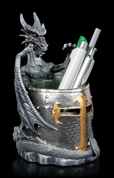 Drachen Stiftebecher mit Ritterhelm