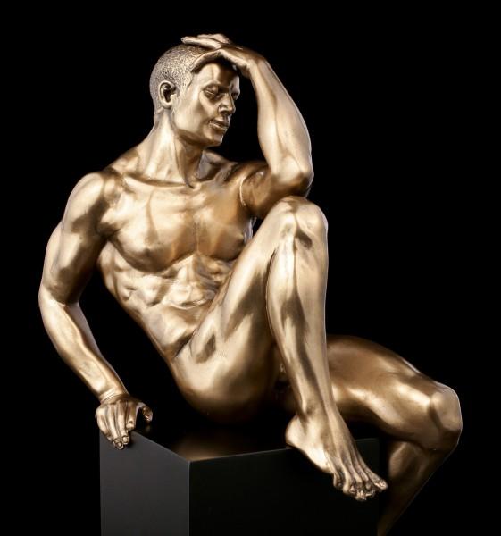 Male Nude Figurine - Sitting on Monolith