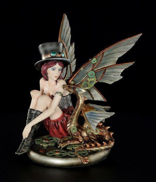 Steampunk Fairy Figurine - Alice with Topper and Dragon