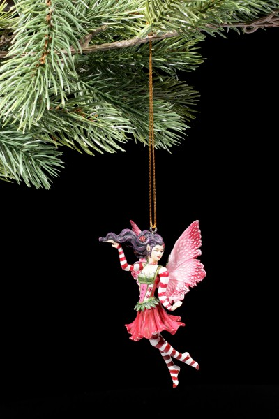 Christmas Tree Decorations - Poinsettia Fairy with red Stockings