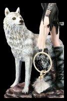 Elfen Figur - Aislin mit Traumfänger und Wolf