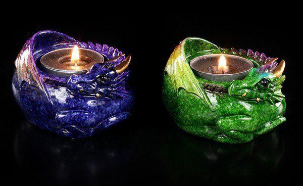 Vorschau: Drachen Teelichthalter 2er Set - Porzellanfinish