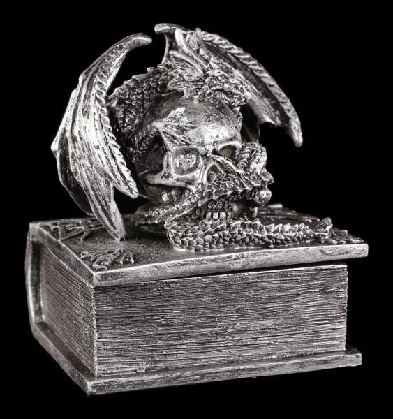 Kleine Schatulle - Drachen auf Totenbuch - Silberfarben