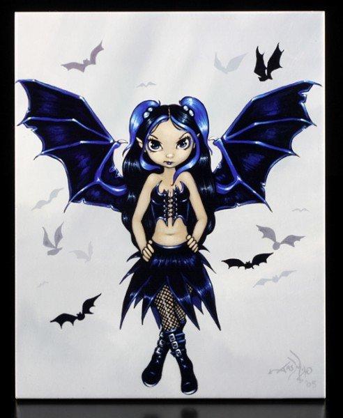 Deko-Fliese groß - Bat Wings
