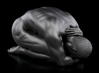 Männliche Akt Figur - Kauernd am Boden - schwarz
