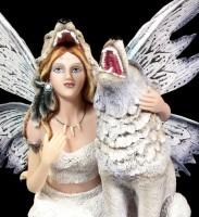 Fairy Figurine - Lislya with Snow Wolf
