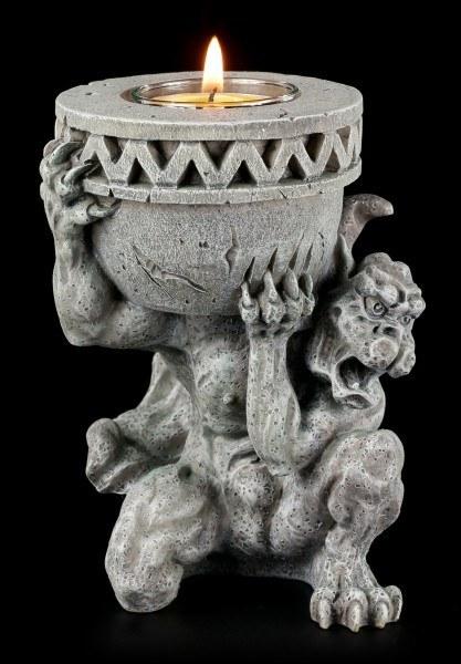 Teelichthalter - Gargoyle hält Kerze