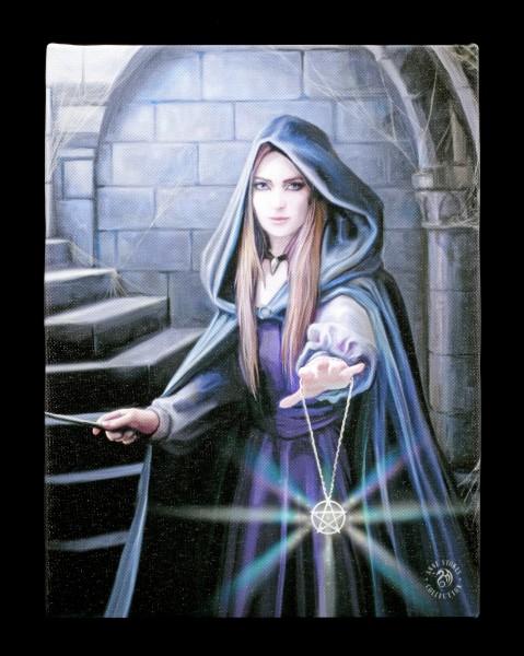 Kleine Leinwand mit Zauberin - Light in the Darkness