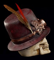 Steampunk Skull with Hat and Feather