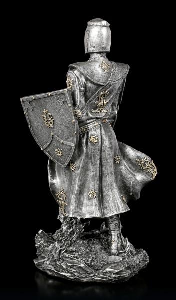 Ritter Figur mit Schild und Schwert - silberfarben