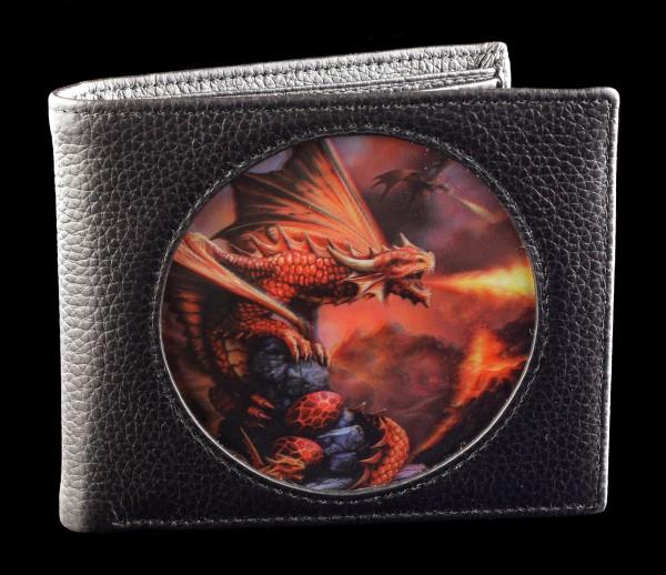 3D Wallet Black - Fire Dragon by Anne Stokes