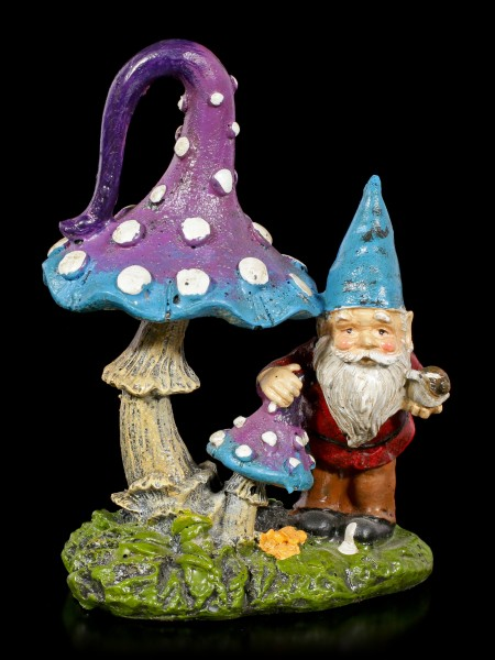 Garden Gnome Figurine with Mushroom and Snail