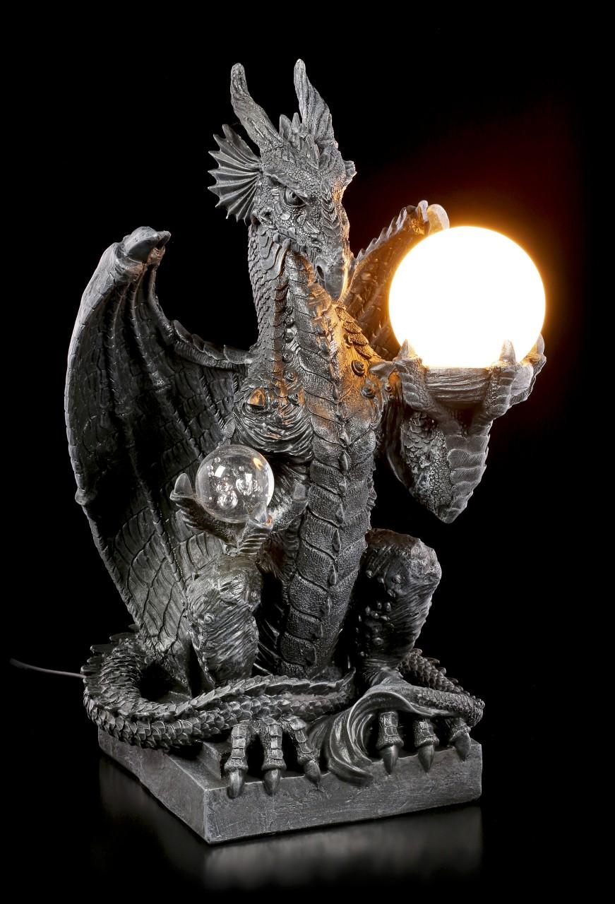 Drachen Lampe mit Glaskugel