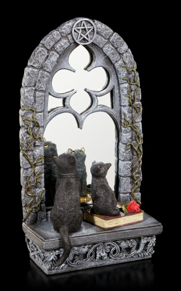 Cat Figurine & Mirror - Familiar Reflection