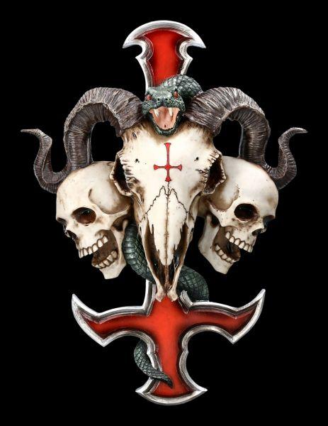 Wandrelief - Teufelskreuz mit Totenköpfen