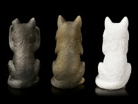 Three wise Wolves Figurines - No Evil