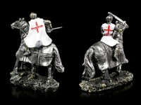 Weiße Kreuzritter Figuren zu Pferd - 2er Set