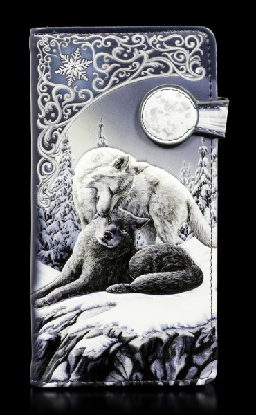 Geldbörse mit Wölfen - Snow Kisses - geprägt