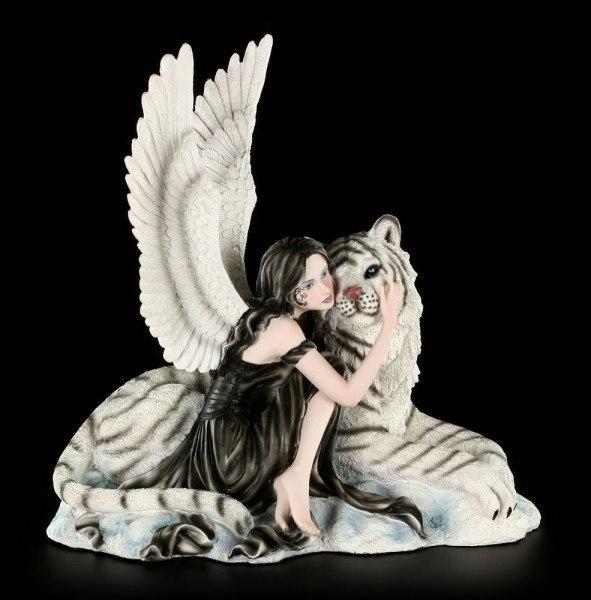 Engel Figur - Liberty mit Tiger - weiß