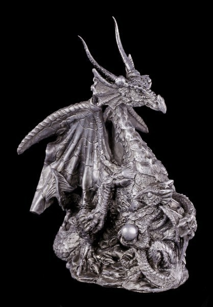Dragon Figurine with Baby and Ball