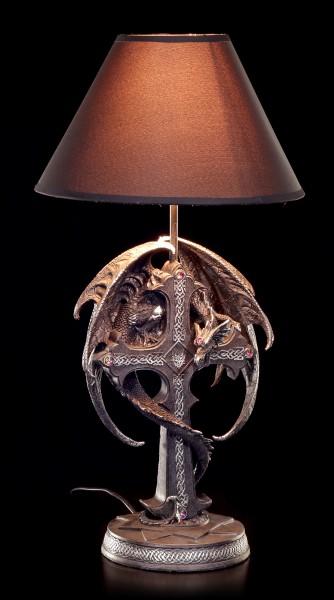 Drachen Tischlampe mit Kreuz - schwarz