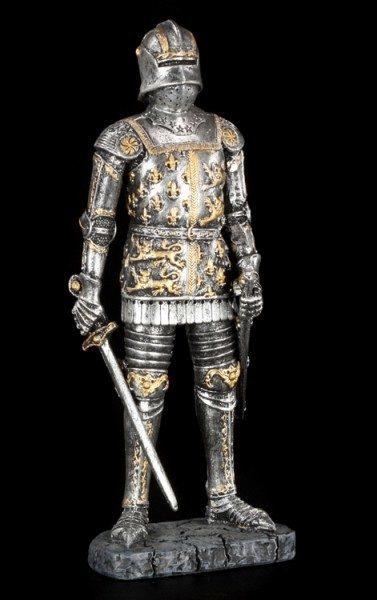 Französische Ritter Figur mit Löwen und Lilien