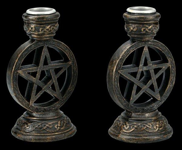 Pentagramm Kerzenhalter - 2er Set