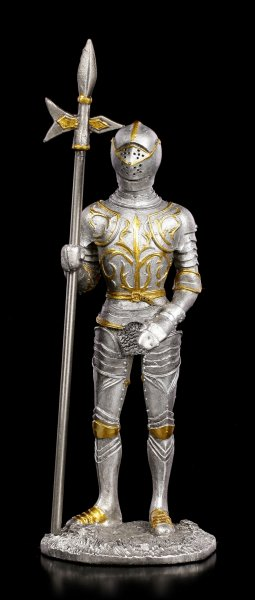 Pewter Knight Figurine with Halberd