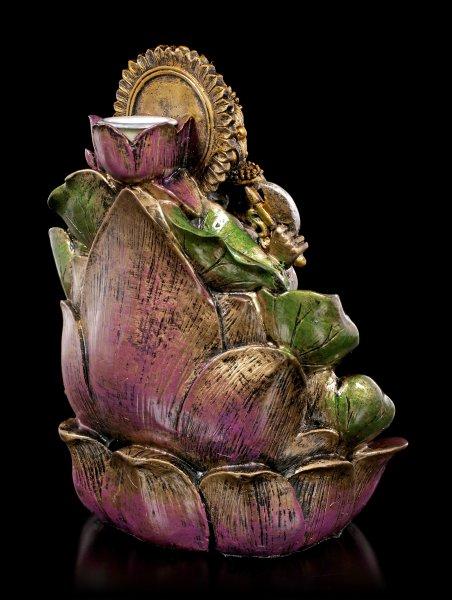 Backflow Räucherkegelhalter - Ganesha auf Lotusblüte