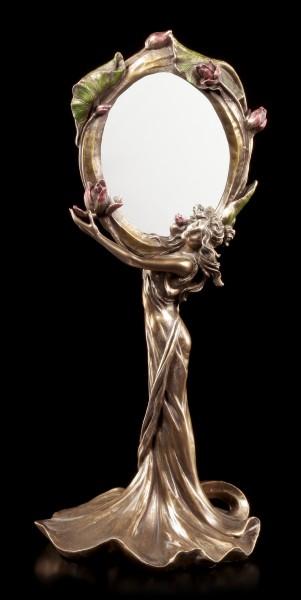Jugendstil Spiegel - Frau hält Blume