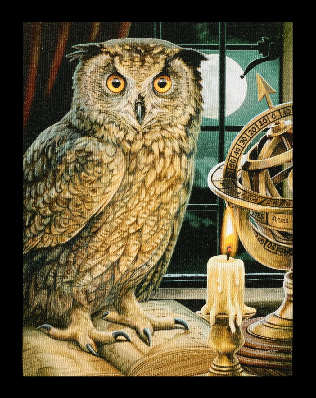 Small Canvas with Owl - The Astrologer