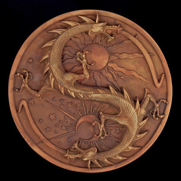 Alchemist Wall Plaque - Double Dragon - Terracotta colored