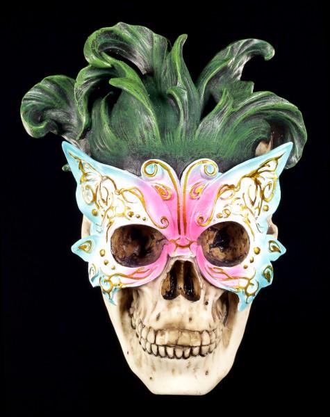 Wandrelief - Venezianische Maske mit Totenkopf