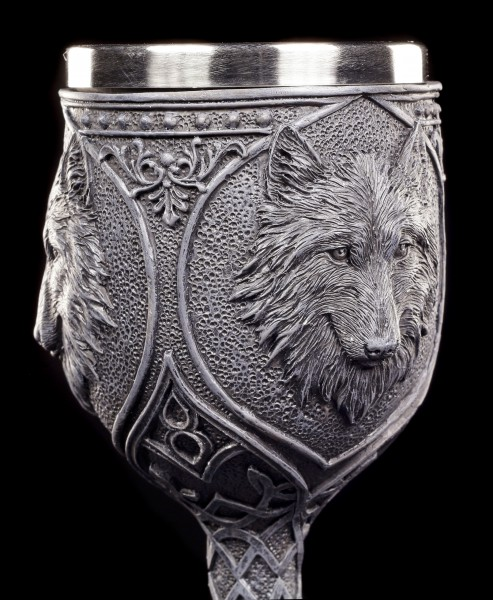 Gothic Kelch - Nacht Wolf mit roten Schmucksteinen