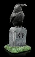 Raven Figurine on Tombstone - RIP