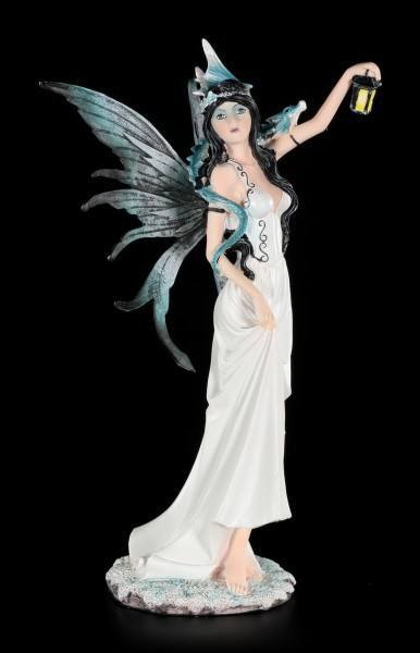 White Fairy Figurine with Lantern and Dragon Baby