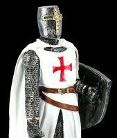 White Templar Knight Figurine with Shield and Sword