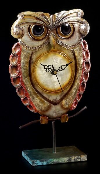 Metall Figuren Uhr - Eule