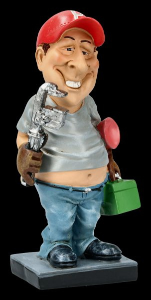 Funny Job Figurine - Plumber with Pipe Wrench