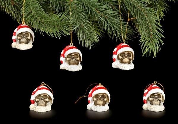 Christbaum-Schmuck - Totenköpfe Weihnachtsmann - 6er Set