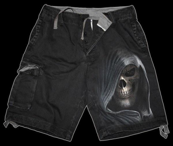Vintage Cargo Shorts mit Totenkopf - Darkness