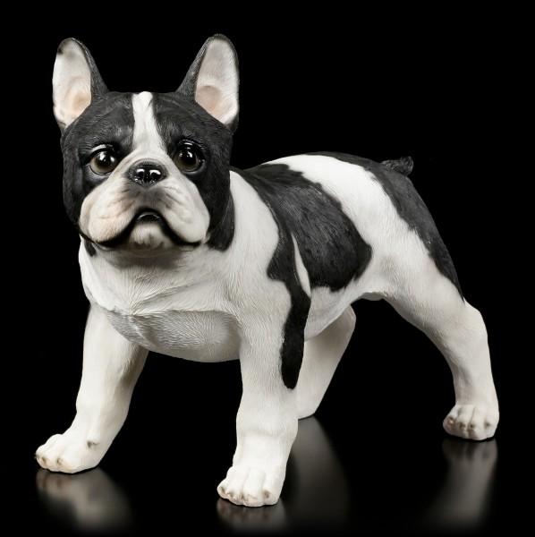 Hunde Figur - Bulldogge schwarz-weiß