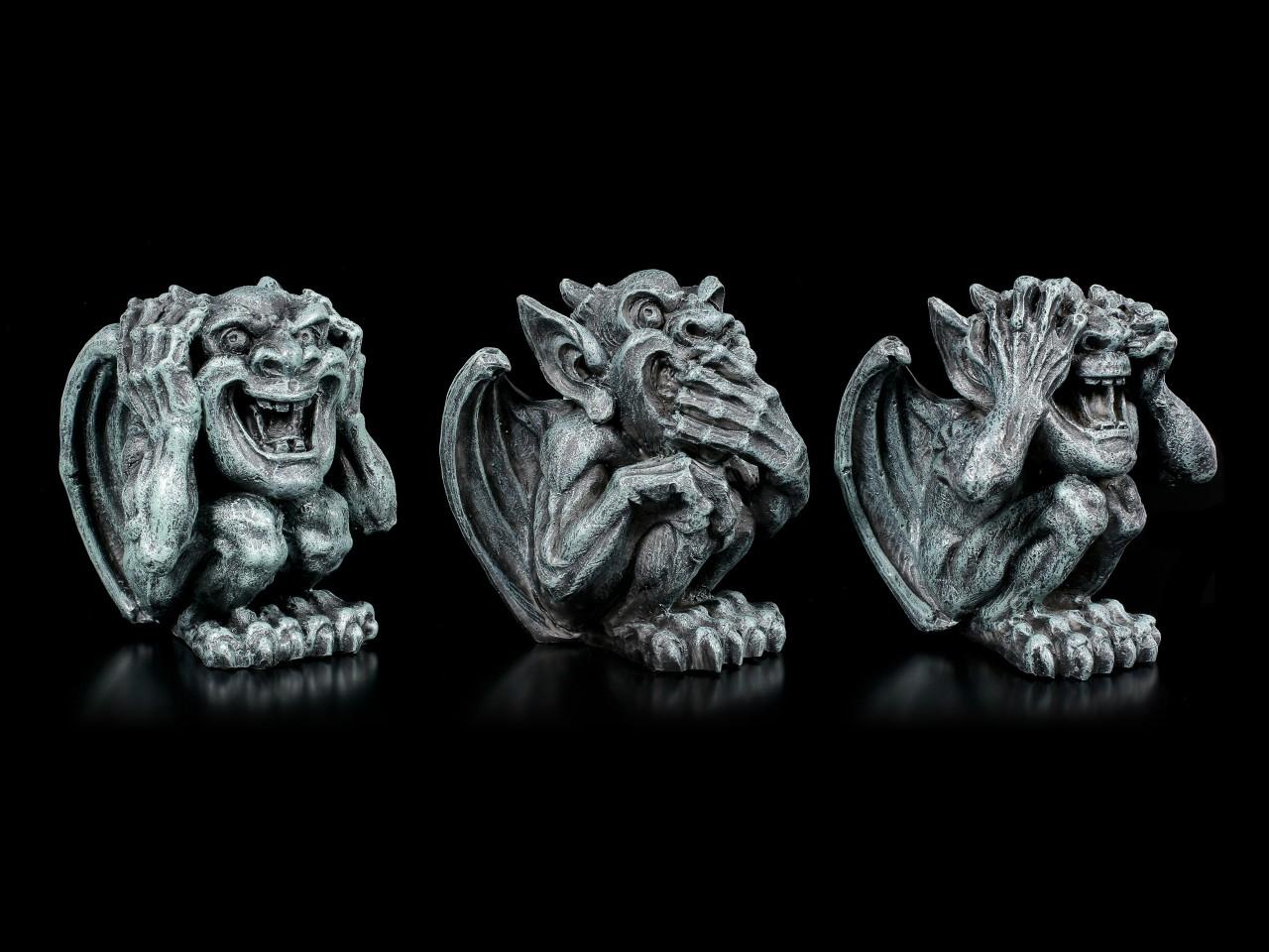 Drei kleine Gargoyles Figuren - Nichts Böses