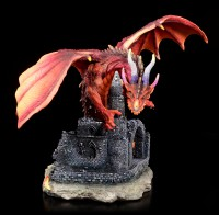 Dragon Figurine - Red Furor on Castle Ruins