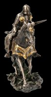 German Knight Figurine with Horse Attacking - bronzed