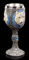 Fantasy Goblet - Lone Wolf with blue Gemstones