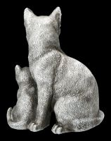 Cat & Kitten Standing - Antique Silver