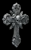 Wall Plaque - Crucifix Cross Skull and Wings