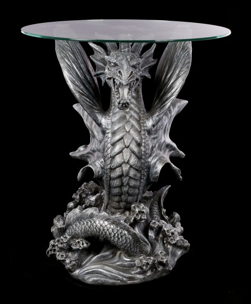 Dragon Table with Glass Plate - Water Dragon