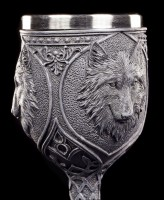 Gothic Goblet - Night Wolf with blue Gemstones